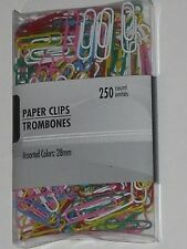 250 PAPERCLIPS PAPER CLIPS VINYL COATED 28 mm ASSORTED COLORS SEE MY OTHER ITEMS
