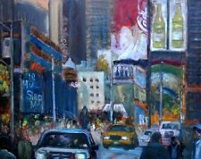 """Times Square at Noon, New York City 16x20"""" Original Oil Painting Hall Groat Sr."""