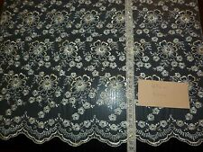 vintage lace  ,embroidered tull flowers made in DDR,90cmx80cm creme roses