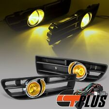 FOR 99-04 VW MK4 JETTA BORA GLI FRONT BUMPER GRILLE+DRIVING FOG LIGHT AMBER BULB