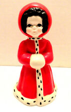 VINTAGE CHRISTMAS BELL GIRL WITH RED FUR TRIMMED COAT AND MUFF