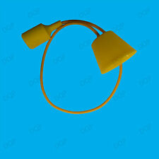 Yellow Silicone Coated ES E27 Rose Pendant Ceiling Lamp Light Bulb Holder Kit