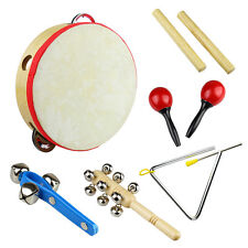 New Musical Instrument Kids Child Drum Triangle Maracas Bells Toys Set Kit Gift