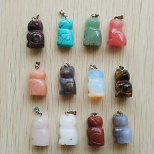 Free Carved Mixed Natural Stone Animal Cat Shape Pendants 12pcs/lot Wholesale