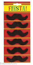 Pack of 6 Black Mexican Mario 70s Tash Moustache 118 Freddie Mercury Fancy Dress