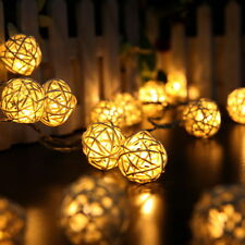 2m 20 LED Rattan Ball String Fairy Lights Lamp For Xmas Wedding Party Warm White