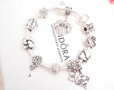 Authentic Pandora Silver Bangle Charm Bracelet with White Love European charms