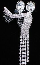 "NEW YEARS BLACK TIE CHA CHA BALLROOM DANCING DANCE PIN BROOCH JEWELRY 2.5"" MOVES"