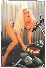 VTG 1980'S Sexy Girl Man Cave Pin Up Bikini BIKER / MOTORCYCLE Poster 23X35 NOS