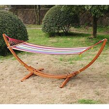 New Patio Larch Arc Hammock Stand With Stripe Colorful Hammock Fabric Sling