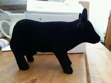 BLACK VELVET COVERED CERAMIC COW/BULL MONEY BOX by puckator