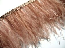 F120 PER FEET Light Brown Ostrich feather fringe Trim Brooch/Fascinator Material
