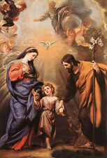 Beautiful Oil painting Holy Family Madonna with Christ angels bird canvas 36""