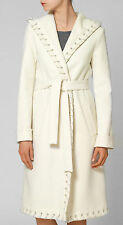 HALSTON COLLECTION IVORY/CREAM HOODED WOOL BLEND COAT RETAIL £1770 UK 8 BNWT