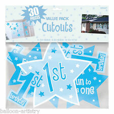 30 Boy Blue 1st Birthday Party Number 1 Stars Cutout Decorations