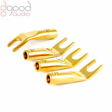 4 x High Quality Gold Plated SPADE Screw Fix Speaker Terminals Cable Connectors