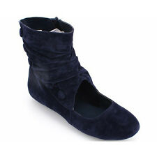 Womens Ladies Faux Suede Velvet Ankle Boots Shoes Low Flat Heel Zip Fasten New