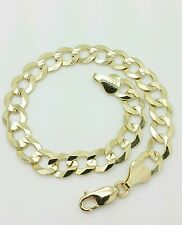 "14k Solid Yellow Gold High Polish Cuban Curb Link Chain Bracelet 8.5"" 8.2mm"