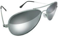 AVIATOR CLASSIC REAL GLASS LENS FULL MIRROR SILVER SUNGLASSES SOLID METAL FRAMES