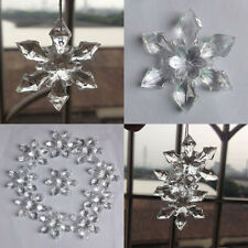 12pcs Crystal Christmas Snowflakes Party Xmas Tree Hanging Decoration Ornaments