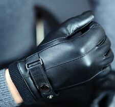 Look!Good Qaulity Mens Winter / Drive 100% Genuine Leather Gloves Cashmere Lined