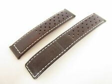 BROWN PERFORATED LEATHER 18MM WATCH STRAP BAND TO FIT A DEPLOYMENT CLASP