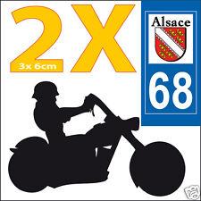 2 stickers autocollants style plaque immatriculation moto Département 68