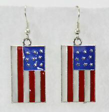 """American flag drop earrings July 4 rectangle red white blue 1.25"""" stripes"""