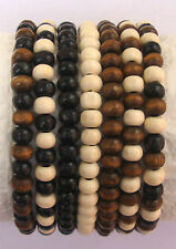 Job Lot 7 x Ladies Wooden Bead Tribal /Surfer Elastic Bracelet Black White Brown