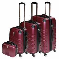 REISEKOFFER SET 4 tlg.TROLLEY KOFFER SET TSA SCHLOß KOFFERSET BEATY CASE Red