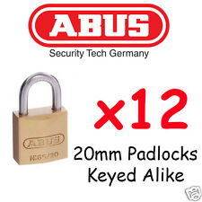 Padlock KEYED ALIKE ABUS 20mm  x12  BULK LOT High quality