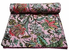 Indian Handmade Quilt Vintage Kantha Bedspread Throw Cotton Blanket Gudri !Queen