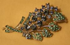 Sparkling Blue and Teal Blue-Green Swooped Flower Cluster Silvertone Brooch Pin