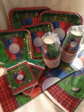 Tee Time Golf Hallmark Party for 16 Lot plates cups table covers NEW retirement