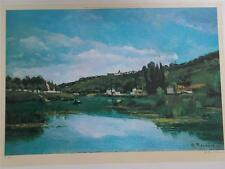 """Vtg Print Oil Painting """"THE MARNE AT CHENNEVIERES"""" by C PISSARRO Impressionist"""