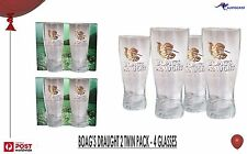 James Boag's Draught Gold Logo Beer Middy 4 Glasses 2 x Twin pack BNIB Tasmania