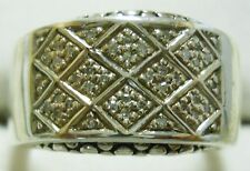 Michael Dawkins Designer Sterling Silver & Round Accented Diamond Ring Size 7.5