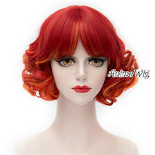 30CM Short Mixed Red Curly Fancy Women Synthetic Lolita Halloween Cosplay Wig