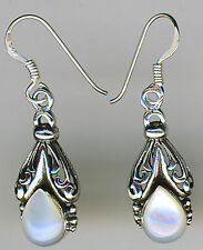 "925 Sterling Silver White Mother of Pearl Dangle  Earrings  Length  1.3/8"" 35mm"