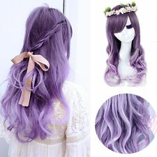 Cosplay Mori Girl Wig Purple Ombre Lavender Hair Long Curly Body Wavy Full Wigs