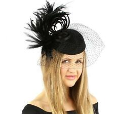 Fancy Wool Swirl Ribbon Feathers Veil Headband Fascinator Cocktail Hat Cap Black