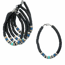 6x Blue Black ANKLETS w/ Puka Shell Coco Beads - Wholesale Jewelry - Bulk NEW