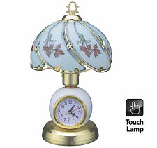 "DESK TOP 14"" BEDROOM OFFICE POLISHED BRASS TABLE TOUCH LAMP LIGHT WITH CLOCK"