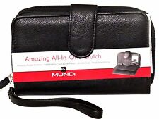 BIG FAT WALLET Mundi Women ALL IN ONE Checkbook Cards Ladies Clutch Black I645X