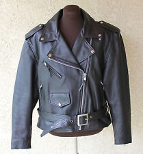 Vintage Flying Bikes Oakwood Lady's Women Black Leather Motorcycle Jacket Large