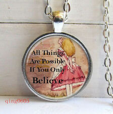 all things are possible if you only believe Tibetan silver Glass Necklace fr06