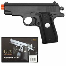 "New 6.5""  METAL G2 Airsoft Pistol Hand Gun 200fps Air Soft Black Heavy +1000 BBs"