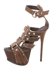 CRAZY COOL, SOLD OUT, NEW $1,395 DSQUARED2 LEATHER PLATFORM HEELS /SANDALS