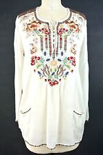 $218 Johnny Was Tunic Top/Tunic creme Colorfull Embroidered Hippe Boho Chic S