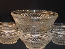 Wexford 6 Pc Scalloped Edge Glass Dessert, Salad Fruit Bowl Set Anchor Hocking